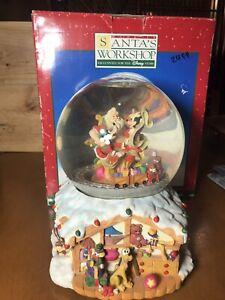 Santa's Workshop Disney Snow Globe Spinning Train Musical Goofy Mickey Donald
