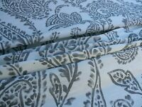 "BY YARD SCALAMANDRE LILLIAN SILK LINEN PAISLEY PRINT ""GREYS"" on WHITE MSRP$178/Y"