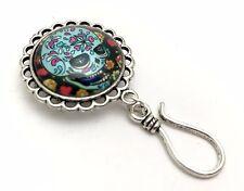 Handmade Magnetic Portuguese Knitting Pin- ID Badge Holder- Sugar Skull Tattoo