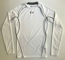 Under Armour Mens M Compression Shirt HeatGear Ls White with Gray Stitching Logo