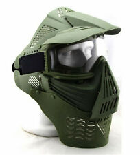 Ajustable Airsoft Wargame Painball Face Gas Mask Goggles & Neck Protect Green