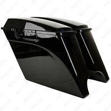 """Vivid Black 4"""" Stretched Harley Davidson Saddle Bags Extended Saddlebags 93-2013"""
