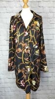 Zara Chain Horse Scarf Print Black Shirt Dress Size S 8 10 12 Long Sleeve Floral