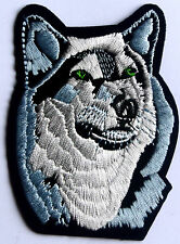 Snow Wolf Patch Husky Alsatian Embroidered Iron Sew On Applique Badge Dog