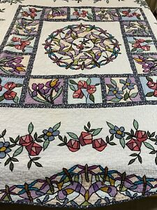 """GORGEOUS Vintage Hand Quilted Stained Glass Window Quilt 86"""" x 85"""" Queen #805"""