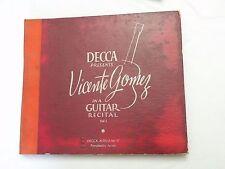 """10"""" 78 RPM Album, 3 Discs, Vicente Gomez in a Guitar Recital Vol 1 Decca VG+"""