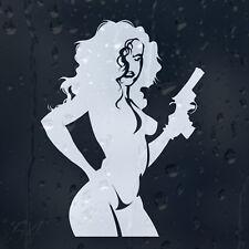 Sexy Ragazza Nuda Lady Donna con Pistola Auto Decalcomania Adesivo Vinile per Paraurti o Finestra