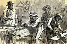 Western School - EDUCATING INDIANS in CARPENTRY - Hampton - Antique Print Matted