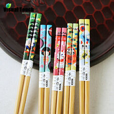 5 pairs Reusable Mascot Lucky Cat Bamboo Chopsticks Chop Sticks Japanese