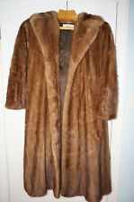Womens genuine mink fur coat and racoon collar autumn color