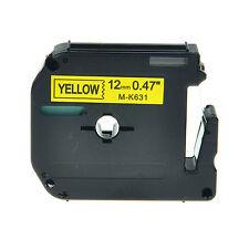 "1PK MK631 MK-631 Black on Yellow Label Tape For Brother PT-65VP Printer 1/2"""