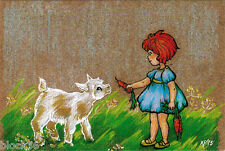 GIRL GIVES CARROT TO LITTLE GOAT Modern Russian p/card like drawing on the cloth