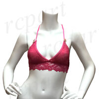 New women's lace back bralette bra Hot pink S M L XL