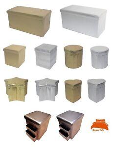 New Metallic Look Folding Ottoman Seat Toy Storage Box Faux Leather Pouffe