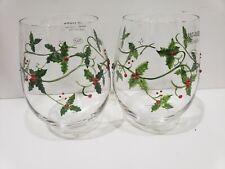 New listing 2 Christmas Wine Glasses Rhinestones Holly Berries Stemless Wine Glasses