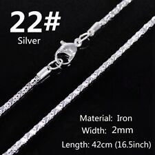 """5PCS 2mm 16.5"""" Silver Plated Iron Chain Jewelry Necklace Making Findings DIY #22"""