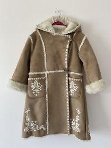 Monsoon Girls Brown Faux Fur Lined Suedette Boho Long Jacket Coat Age 6-7 Years