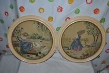 "VINTAGE pair VICTORIAN LADIES 14.25"" ROUND WOODEN  FRAME CREWEL  PICTURES CHIC!"