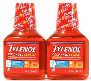 2 Ct Tylenol 8 Oz Cold & Flu Severe Day Non Drowsy Warming Honey Lemon Liquid