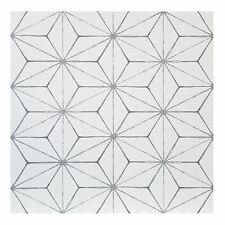 FloorPops Kikko Pack of 10 Peel & Stick Vinyl Floor Tiles White Grey Pattern