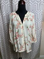 Joie Silk Floral Shirt with Covered Buttons Sz Small GUC