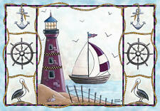 "Light House 37""x52"" Home Accent Area Rug Sail Boat Nautical Seagull Ocean Decor"