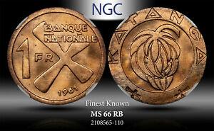 1961 KATANGA (CONGO) FRANC NGC MS 66 RB FINEST KNOWN WORLDWIDE