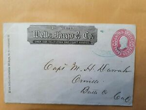1800s US Wells Fargo Cover with 3 cent Pink Entire Postal Services USA STAMP