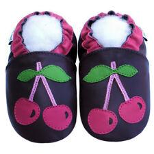 Littleoneshoes(Jinwood) Soft Sole Leather Baby Infant CherryPurple Shoes 0-6M