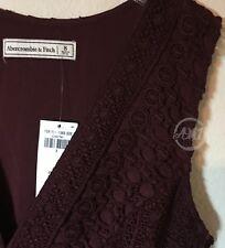 NWT Abercrombie & Fitch Womens V-neckline Lace Skater Dress Burgundy $78 Size 8