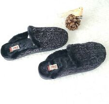 DF By Dearfoams Black Faux Fur Memory Foam Slippers Size XL(11-12) Gel Infused