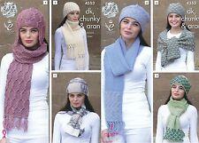 King Cole Ladies DK Aran Chunky Knitting Pattern Womens Scarf & Hat Sets 4353