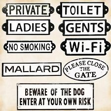 Cast Iron Signs Vintage Antique Private Toilet Wifi Gents Ladies No Smoking Sign