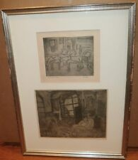 Horse & Carriage(1948) and Room Interior(1969) Etchings-Rodolfo Marma