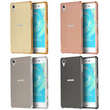 For Sony Xperia Shockproof Brushed PC Mirror Cover + Aluminum Metal Bumper Case