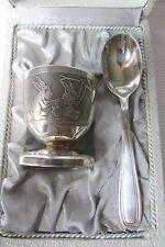 SWEETEST ANTIQUE FRENCH SILVER/SILVER PLATE BOXED EGG CUP & SPOON CHARLES JULIEN