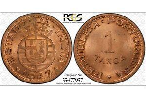 INDIA - PORTUGUESE , 1 TANGA 1947  PCGS MS 65 RD  ,  RARE