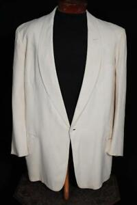 VINTAGE 1950'S AFTER SIX CREAM GABARDINE SHAWL COLLAR TUXED SIZE 42 LONG