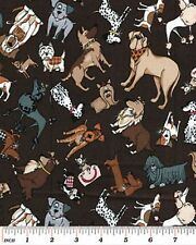 Privileged Pups Dogs 100 Cotton Fabric by Kanvas for Benartex FQ