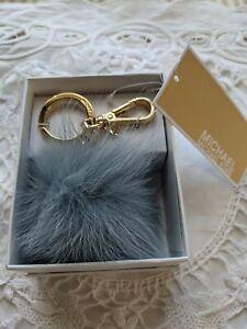 Michael Kors Fur Pom Pom Key Charm FOB Pale Blue Gold NWT