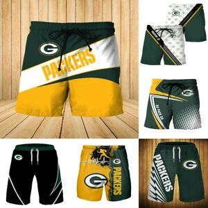 Green Bay Packers Summer Beach Shorts GO PACK Swim Trunks Fans Casual Swimsuit