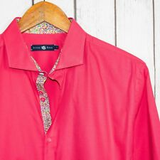 STONE ROSE Men's Button Front Shirt Solid Pink Cotton Floral Cuffs Size 4