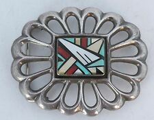 inlay belt buckle sterling Coral, Turquoise Native American Navajo Ray Jack Cast