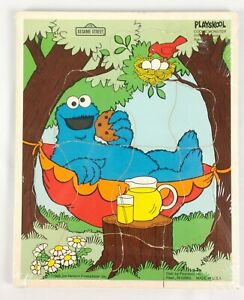 Playskool Cookie Monster Wooden Tray Puzzle 9 Pcs Sesame Street Jim Henson New