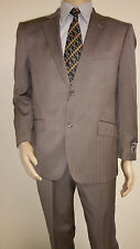 Men's Premium Quality Fancy Stripe Modern Fit Dress Suits Taupe Brand New 38R