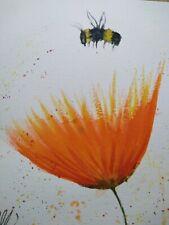 Original watercolour painting.  Bee and orange flower.