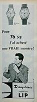 2 PUBLICITÉS DE PRESSE 1961 MONTRES LIP DAUPHINE POUR HOMMES ET FEMMES