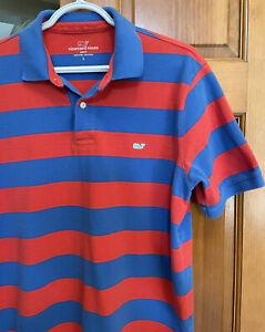 Vineyard Vines Men's Polo - Lrg - Red & Blue Large Stripe  pre-owned