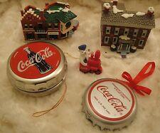 5 Coca Cola Ornaments-Bottle Cap-Bottle Cap Container-2 Coca Cola Buildings 1990