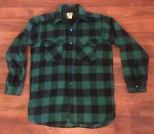 Vintage King Kole Green Black Plaid Heavy Dury Wool Flannel Size 15 (Med) Nice